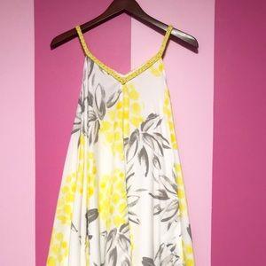 Merona Yellow and white summer dress NWT